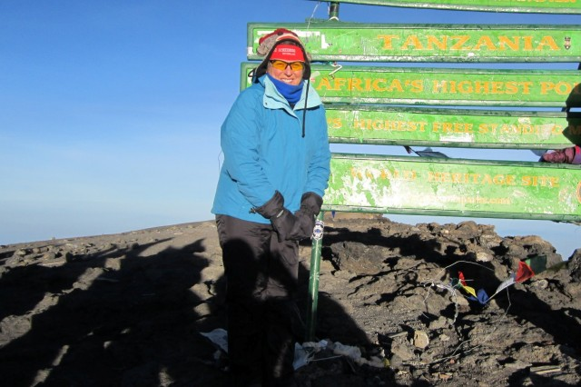 Bev Stotz climbed Mount Kilimanjaro in January, here reaching the summit of the highest free-standing mountain in the world.