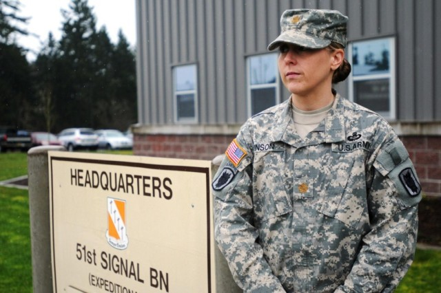 Maj. Nicole Vinson, executive officer, 51st Signal Battalion is a former certified jumpmaster previously with 82nd Airborne Division. She and all other female Soldiers are now able to serve in direct combat roles and military occupational specialties after a Jan. 23 decision that overturned restrictions that were in place since 1994.