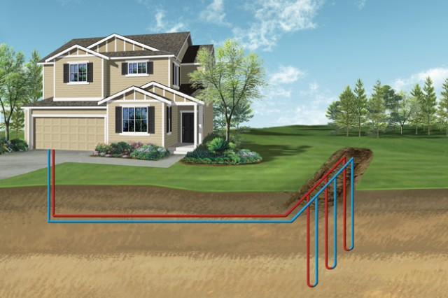 A diagram shows how a closed-loop ground source heat pump system uses pipes buried in the ground to moderate heat. Recently, the U.S. Army Corps of Engineers New York District completed three geothermal projects at Fort Hamilton, New York, including a project at the headquarters building of the U.S. Army Corps of Engineers North Atlantic Division.