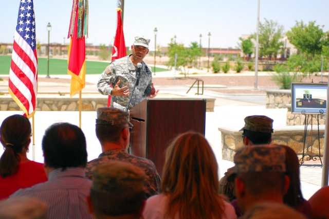 Maj. Gen. Dana Pittard, commanding general of the 1st Armored Division and Fort Bliss, speaks during the groundbreaking ceremony for the 3rd Brigade Combat Team, 1st Armored Division, Bulldog Brigade Memorial, June 25. Pittard and other senior leaders stationed at Fort Bliss attended the ceremony to recognize the fallen Bulldog Brigade Soldiers who gave their lives in support of Operation Iraqi Freedom and Operation Enduring Freedom.