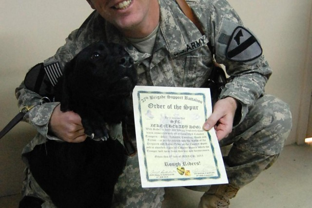 Combat stress control soldier, working dog inducted into Order of the Spur