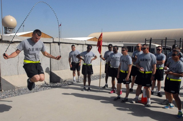 U.S. Army Spc. Drake Waters with Bravo Company, 702nd Brigade Support Battalion, 4th Brigade Combat Team, 2nd Infantry Division, competes in the jump rope event during the battalion's mid-tour celebration March 17, 2013, at Kandahar Airfield, Afghanistan. (U.S. Army photo by Staff Sgt. Scott Tynes/Released)