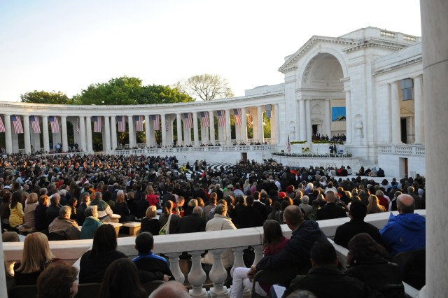 Guests fill the Arlington National Cemetery Amphitheater for Easter Sunrise Service on April 8, 2012.