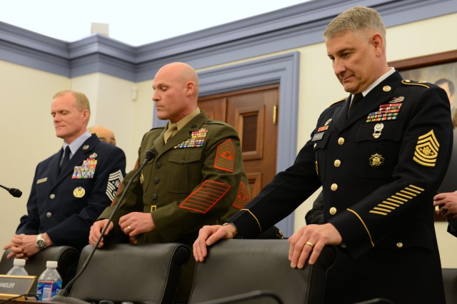 Sgt. Maj. of the Army Raymond Chandler and his counterparts from the Marines and Air Force prepare to testify to Congress, March 19, 2013, about quality of life and the current fiscal uncertainty.