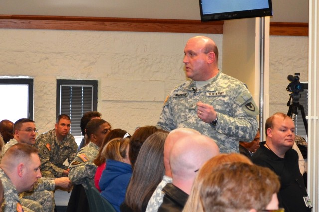 Brig. Gen. John Wharton, commanding general, Army Sustainment Command, and senior mission commander, Rock Island Arsenal, Ill., discusses sequestration and potential furloughs with command headquarters personnel March 19 in the Baylor Conference Room, Building 103 during his first town hall meeting. (Photo by Jasmine Phillips, ASC Public Affairs)