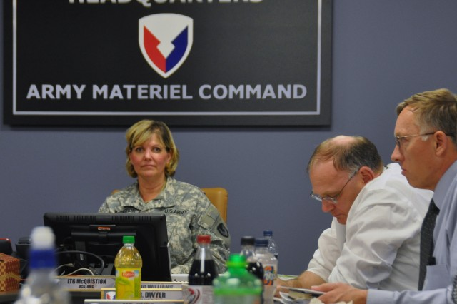"""Lt. Gen. Patricia McQuistion, deputy commanding general of AMC participated in the Rehearsal of Concept Drill on March 19. """"We are both very service-oriented commands and we come at problems the same way,"""" she stated. """"It is great teamwork and I look forward to our continued partnership."""" U.S. Army Photo."""