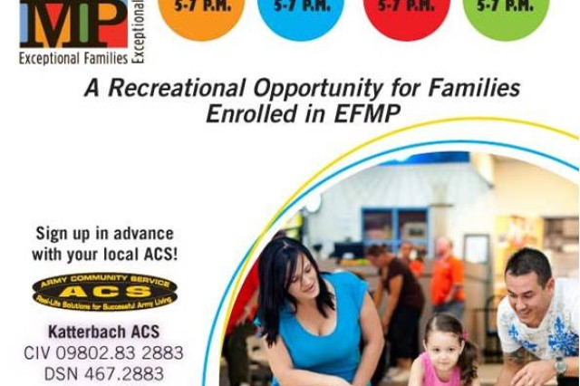 The Exceptional Family Member Program offers free bowling at Katterbach and Storck bowling centers March 25, April 22 and May 6 from 5 to 7 p.m. Sign up in advance with you Army Community Service. To learn more or sign up, call Katterbach ACS at 09802-83-2883 or 467-2883 or Storck ACS at 09841-83-4555 or DSN 467-4555.