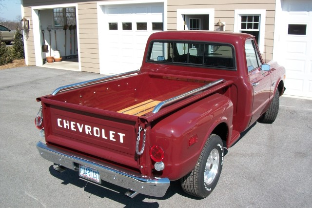 The 1969 Chevrolet Stepside after it was fully restored.