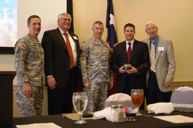 BG Thomas Kula, Southwestern Division commander, Developer George Schuler, COL Michael Teague, Tulsa District commander, Denison Mayor Jared Johnson and Rep. Ralph Hall attend commemoration of land sale to city of Denison, Tx