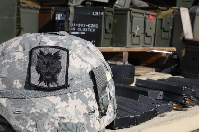 "The ""lion patch"" of the 35th Signal Brigade, a support unit of the XVIII Airborne Corps, was designed in 1980 at Fort Bragg, N.C., and has been worn by the 50th Signal Battalion ever since. (Photo by 1lt. Brian J. Martin, 50th Signal Battalion UPAR and Battalion Historian)"