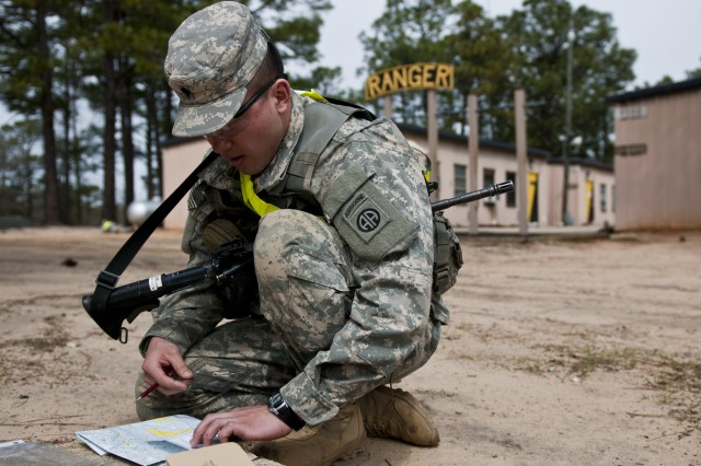 Spc. Lawrence Anderson, the Trooper representing 3rd Brigade Combat Team in the 82nd Airborne Division's Noncomissioned Officer and Trooper of the Year competition, prepares for the land navigation portion of the competition at the division's Pre-Ranger Course, March 20, 2013, at Fort Bragg, N.C.