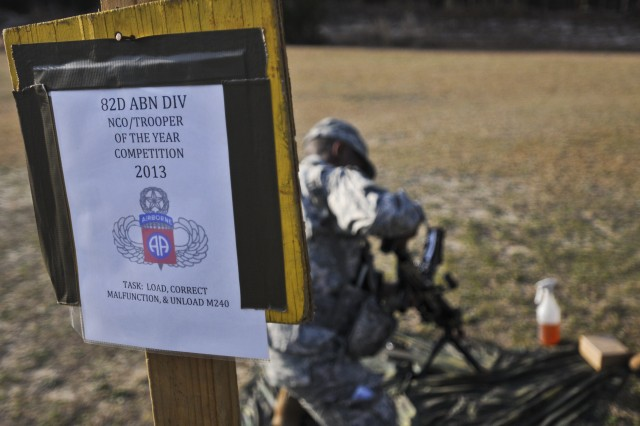 The 82nd Airborne Division's annual Noncommissioned Officer and Trooper of the Year competition entered its third day, March 21, 2013, at Fort Bragg, N.C., as the competitors complete a variety of Warrior Task stations ranging from weapons proficiency to reacting to indirect fire at the division's Pre-Ranger camp.