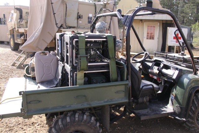 Soldiers of the 4th Brigade Combat Team, 10th Mountain Division (Light Infantry), configured Capability Set 13 equipment -- including satellite communications, tactical radios and friendly force tracking technology -- on a Gator All Terrain Vehicle that can be transported by helicopter to remote locations. The innovative solution allowed the 2nd Battalion, 30th Infantry Regiment to communicate in austere environments not accessible by heavier vehicle platforms. The vehicle is pictured at Fort Polk, La., where the unit is the Army's first preparing to deploy with CS 13.
