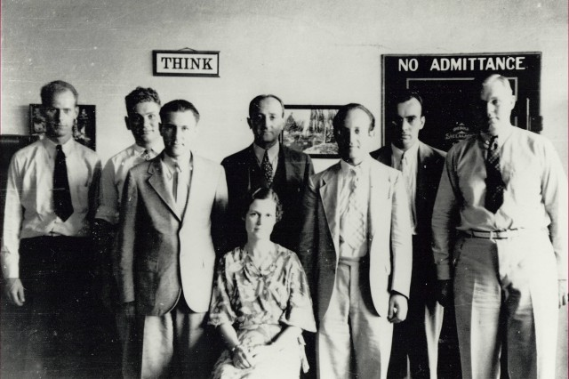 The Signal Intelligence Service (SIS) was established in 1929 to control all Army cryptologic activity. In this photo are Friedman (center, standing) and the SIS staff in 1935. This small but talented group ultimately broke the Japanese diplomatic machine cipher.