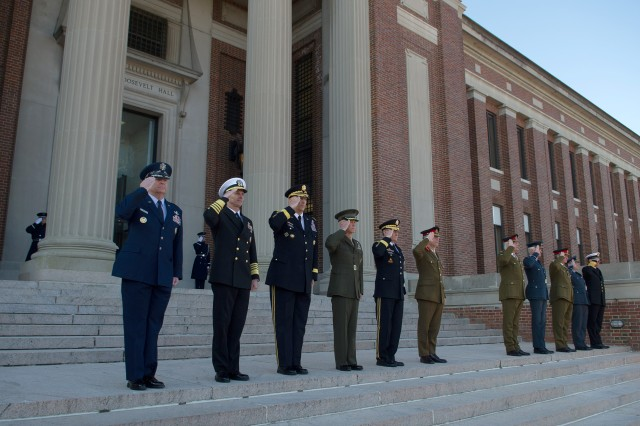 U.S./U.K. Chiefs Committee participate in a Honor Guard ceremony at the steps of the National War College at Fort McNair in Washington, D.C., March 27, 2013.