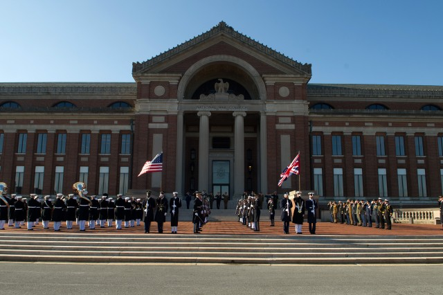 U.S., U.K. Chiefs Committee participate in a Honor Guard ceremony at the steps of the National War College at Fort McNair in Washington, D.C., March 27, 2013.