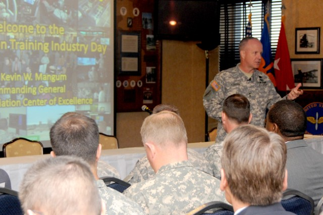 Maj. Gen. Kevin W. Mangum, USAACE and Fort Rucker commanding general, briefs senior leaders and Aviation industry officials on training initiatives and challenges at the Aviation Training Industry Day March 21 at The Landing.