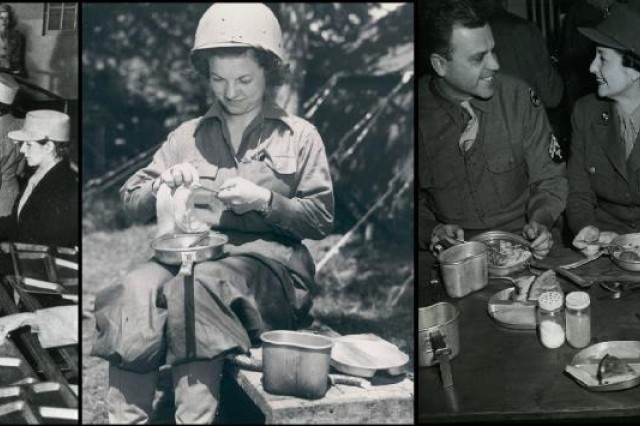 Archival photos from the U.S. Army Women's Museum show World War II-era troops at Thanksgiving.