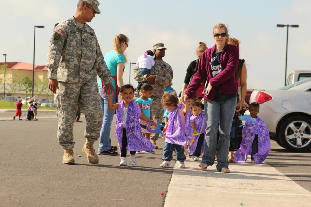 Hundreds of children from the three Fort Sill Child Development Centers paraded around the CDCs last year as part of the Month of the Military Child celebration in 2012.