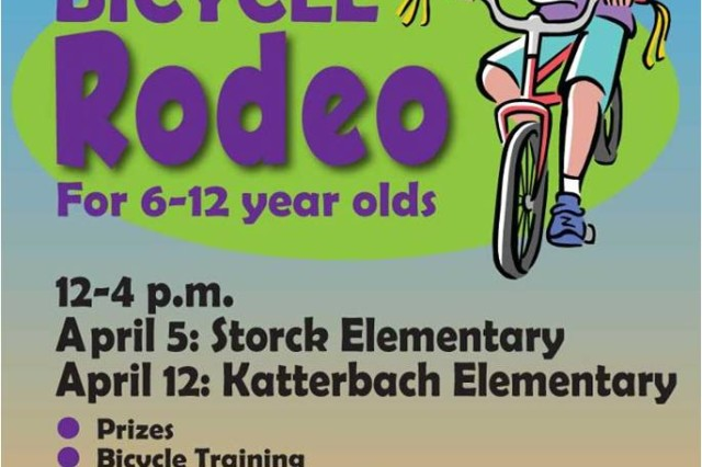 Children can bring out their bicycles for U.S. Army Garrison Ansbach's second annual Garrison Bicycle Rodeo from noon to 4 p.m. April 5 at Illesheim Elementary and April 12 at Katterbach Elementary. The bicycle rodeo gives children 6 to 12 years old a chance to showcase their bikes while learning vital tools to ride them safely. Children 6 to 8 years old have a chance to win a bicycle donated by AAFES. The Red Cross will be there to show parents how to properly render first aid to children in case of injury. There will also be helmet and bicycle inspections, bicycle rules and regulations for German and on-post roads, and an ADAC-sponsored obstacle course for children to test their riding skills. A parent or a sibling at least 16 years old must remain with their participating child or children during this event. To learn more, call the Garrison Safety Office at 09802-83-1670 or 468-1670.
