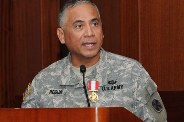 Eighth Army Deputy Commandier Maj. Gen. Eldon Regua speaks at his retirement ceremony on Yongsan Garrison March 26