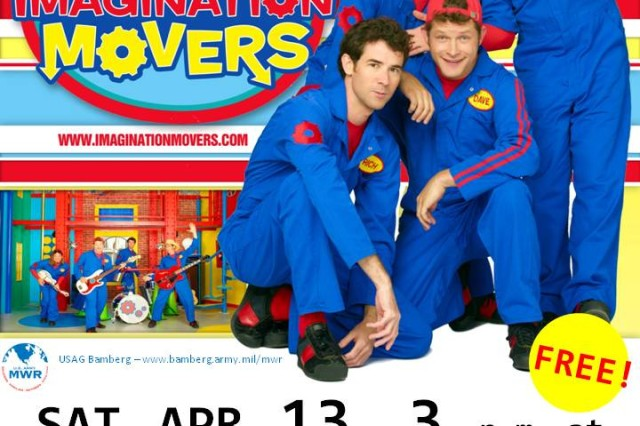 Armed Forces Entertainment and Navy Entertainment present the Disney Imagination Movers at 3 p.m. April 13 at the Freedom Fitness Center. Young kids will love seeing their TV favorites onstage in Bamberg. Doors open 2 p.m. Admission is free. To learn more, call 0951-300-8647.