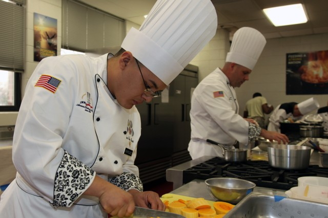 Military chefs develop their skills to support feeding hungry service members. A program offered by the Joint Culinary Center of Excellence allows Soldiers to apply work experience towards college credits.