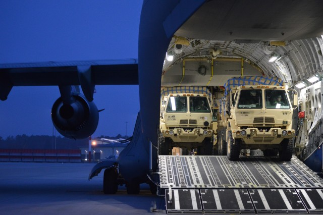 The 212th CSH loads part of their EEP onto a C-17 at Ramstein Air Base
