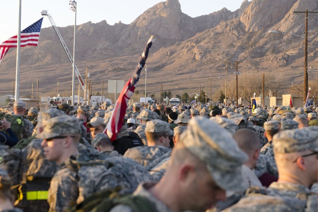 Teams in the military male heavy category wait their turn to start the Bataan Memorial Death March. Over 5,000 people participated in the event which brought in people from almost every state and many foreign countries.