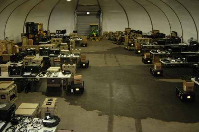 As part of Capability Set 13 the Army issued 14  Company Command Post training sets in February to the 3rd Infantry Brigade Combat Team, 10th Mountain Division (Light Infantry) at Fort Drum, N.Y. Pictured here is a layout of a portion of those 14 CoCP training sets prior to inventory and issue.