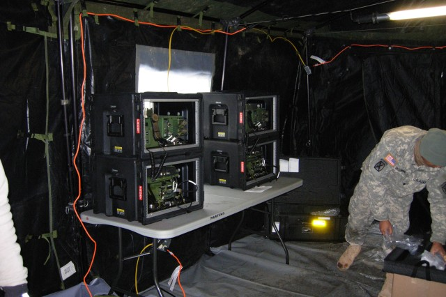 The systems that make up the Company Command Post are intended to deliver a new level of advanced voice and data communications to the company level.  RT 117G Radios with their tactical operation center kits shown here at Fort Drum, N.Y., provide both voice and data capabilities.