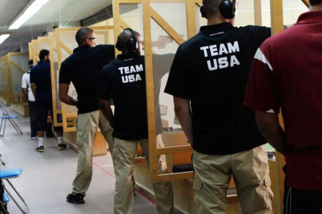 The U.S. marksmanship team brought home the bronze in the rifle challenge at the 2013 Qatar Commander-General Shooting Competition, held March 14-18, 2013, at the Lusail International Shooting Complex in Doha, Qatar. Pictured here, Team USA competes in the pistol event during the Commander-General Shooting Competition. The team composed of soldiers and Marines won the bronze in the rifle event.