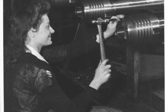Ms. Annette Baker marking finished tubes in 1943.  Women have been a part of the Arsenal's workforce since it opened its gates in 1813.  During World War II, more than 3,000 women worked at the Arsenal.