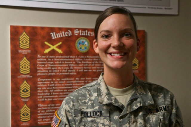 Sgt. Emmy Pollock, a Yates Center, Kans., native, and a healthcare specialist with Headquarters and Headquarters Battery, 1st Battalion (HIMARS), 94th Field Artillery Regiment, 17th Fires Brigade, before she attends selection for the U.S. Army Cultural Support Program, March 7, 2013. If selected, Pollock will join a Cultural Support Team, an all-female element that conducts missions with Special Forces units in Afghanistan.