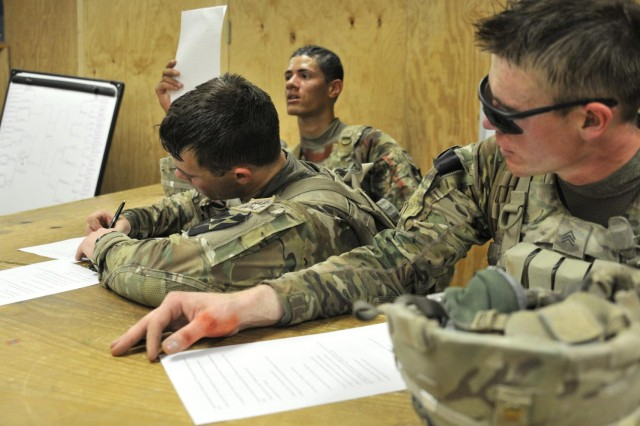 U.S. Soldiers with Bravo Company, 2nd Battalion, 23rd Infantry Regiment complete a written history test during the mystery event of the Top Tomahawk competition at Forward Operating Base Spin Boldak in Kandahar province, Afghanistan, March 29, 2013. The test consisted of general knowledge and unit history questions. The Top Tomahawk competition evaluated the Soldiers' physical endurance, marksmanship skills, and technical and tactical proficiency.  (U.S. Army photo by Staff Sgt. Shane Hamann/Released)