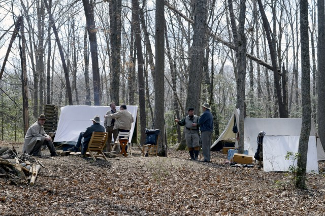 Re-enactors from Company I, 47th Virginia Infantry set up a civil War campsite as part of Fort A.P. Hill's Civil War Sesquicentennial Winter Quarters Exhibition on Saturday March 30.