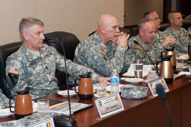 U.S. Army Chief of Staff Gen. Raymond T. Odierno and Sergeant Major of the Army SMA Raymond F. Chandler sit in a briefing at the United States Army Aviation Center of Excellence (USAACE) Headquarters in Fort Rucker,Al. April 01, 2013. During his stay at Fort Rucker; Gen. Odierno visited other units and facilities and held a town hall meeting with SMA Chandler. (U.S. Army photo by Staff Sgt. Steve Cortez/ Released)
