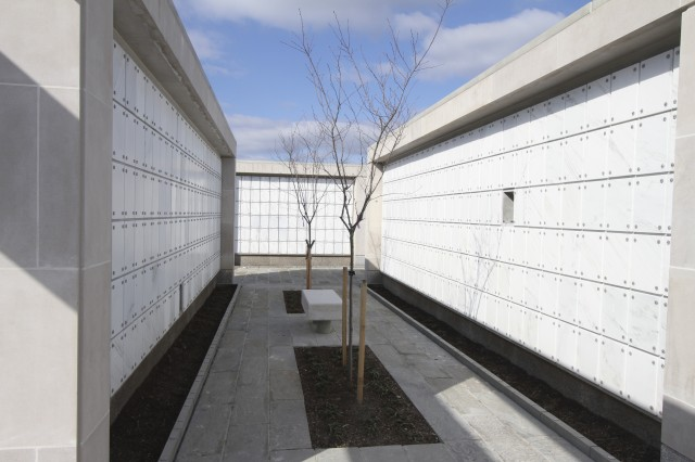 "ARLINGTON, Va.  "" Construction is nearing completion on the 62,820-square-foot Columbarium Court 9 here. The new $12.9-million-dollar facility will add 20,292 niche spaces and extend the availability of first inurnment to 2024. (U.S. Army photo/Patrick Bloodgood)"