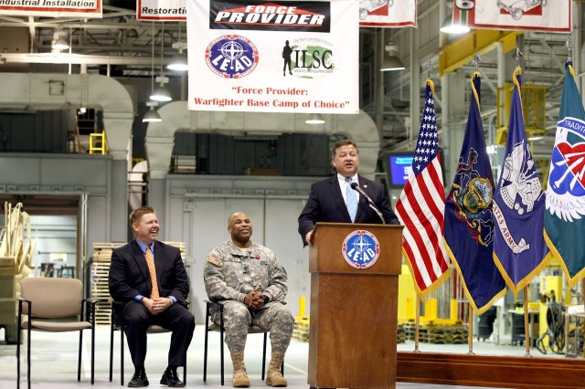 U.S. Rep. Bill Shuster congratulates depot's Force Provider team