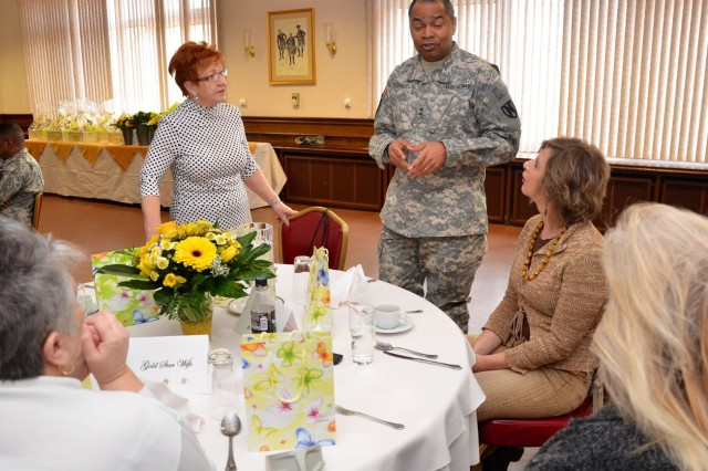 Maj. Gen. Aundre Piggee, commander of the 21st Theater Sustainment Command, speaks with Gold Star Wives at a Survivor Outreach Services luncheon held April 4 at U.S. Army Garrison Kaiserslautern's Landstuhl Community Club.