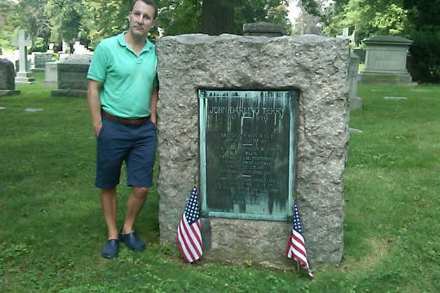 Donald Terry MacLeod Jr., the great, great grandson of Capt. John D. Terry, visits his gravesite in New York City.