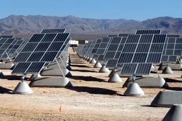 The Army announced the start of a solar project, April 5, 2013, during a press conference at Fort Bliss, Texas. The new facility at Fort Bliss will provide 20-megawatts of power. Pictured here, a photovoltaic solar facility provides power to Nellis Air Force Base, Nev.