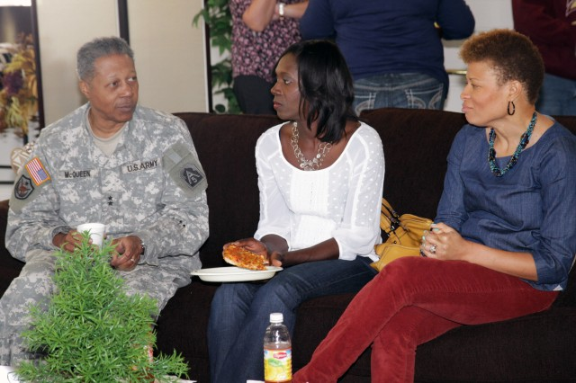 Maj. Gen. Adolph McQueen Jr., deputy commanding general for support, U.S. Army North (Fifth Army), thanks Gold Star Wives Meka Durham (center) and Charmaine McMillen (right) for their sacrifice during the casual lunch, April 5, 2013, at the Survivor Outreach Services' Hall of Remembrance on Fort Sam Houston, Texas. Friends and Gold Star Wives gathered together during the second annual Gold Star Wives Day.