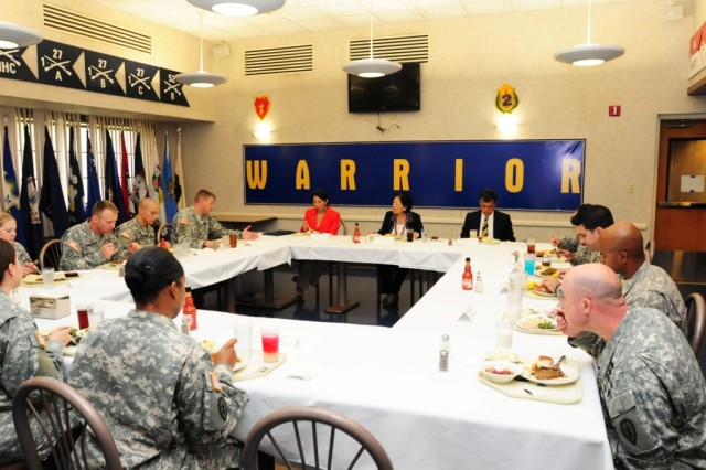 "U.S. Senator Mazie Hirono meets with Soldiers of the Tropic Lightning Division for a luncheon at the 2nd Stryker Brigade Combat Team, ""Warrior Inn"" dining hall during a visit to Schofield Barracks, Hawaii, April 3, 2013."