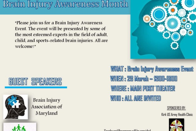 Brain Injury Awareness Poster by Kirk US Army Health Clinic