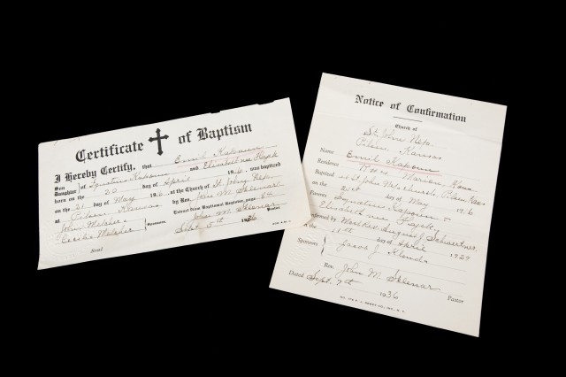 Certificate of baptism and notice of confirmation