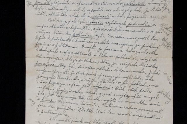 These notes, written in Kapaun's own hand, are from his days at Kenrick seminary school in Missouri.