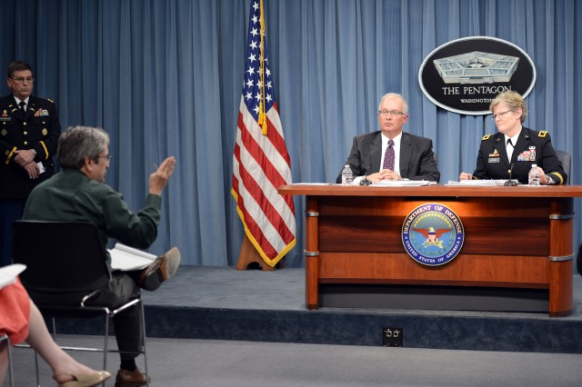 During a briefing at the Pentagon, April 10, 2013, Maj. Gen. Karen E. Dyson, director of the Army Budget, and Davis S. Welch, deputy director of the Army Budget, discussed components of the Army's fiscal year 2014 budget proposal, including how much is marked for supporting personnel, how much is marked for facilities maintenance, and how much will go toward buying or modernizing war-fighting equipment.