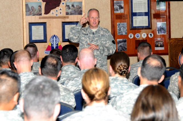 Maj. Gen. Kevin W. Mangum, U.S. Army Aviation Center of Excellence and Fort Rucker commanding general, speaks with captains promotable and majors during his Officer Professional Development training at the Landing April 9.