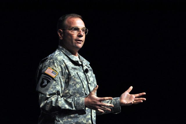 Lt. Gen. Frederick B. Hodges, commander of NATO (North Atlantic Treaty Organization) Allied Land Command in Izmir, Turkey, talks to Command and General Staff College students April 4 at the Lewis and Clark Center, Fort Leavenworth, Kan.